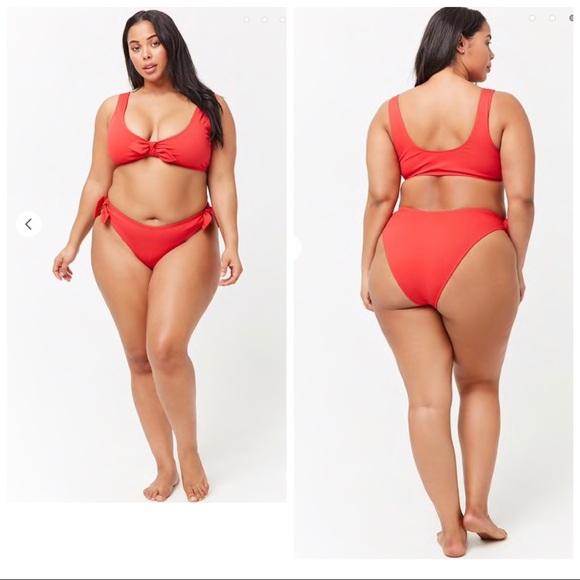 06e3a1e8f6812 Plus size ribbed tie bikini